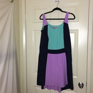 Betsey Johnson Pleated Colorblock Dress